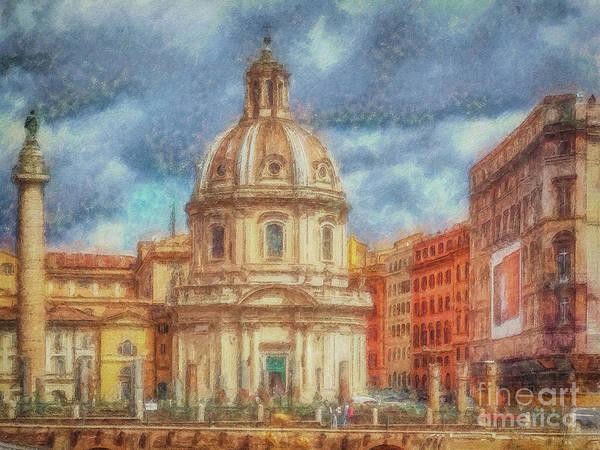 Digital Art - When In Rome 25 - Piazza Venezia 1 by Leigh Kemp