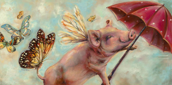 County Fair Painting - When Pigs Fly- Animal Print by Kim Guthrie