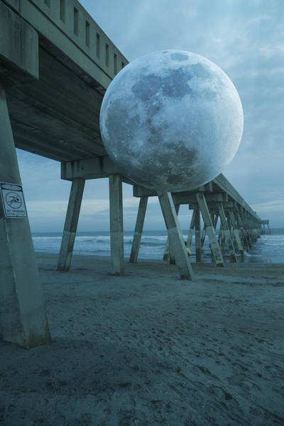 Atlantic Digital Art - Waning Moon by Betsy Knapp
