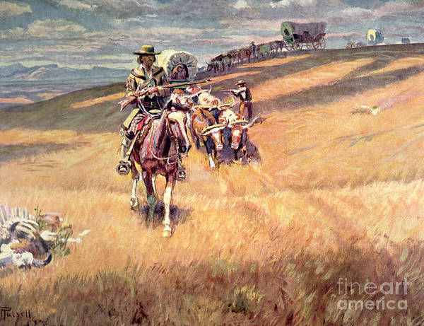Settlers Painting - When Wagon Trails Were Dim by Charles Marion Russell