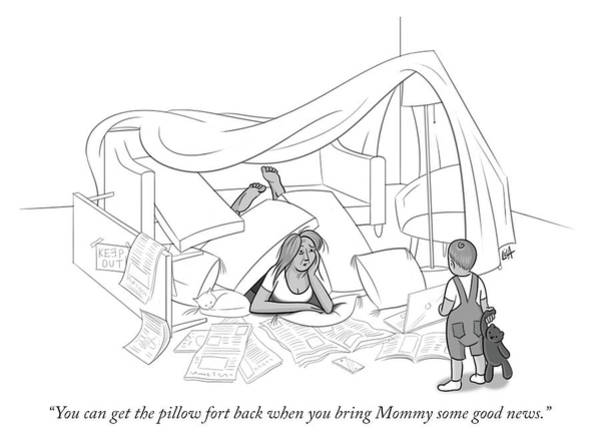 Drawing - When You Bring Mommy Some Good News by Lila Ash