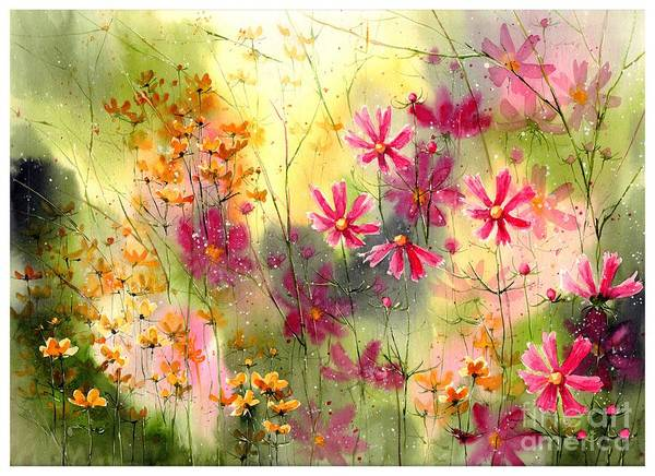 Tranquility Painting - Where The Pink Flowers Grow by Suzann Sines