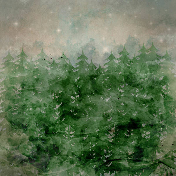 Evergreen Trees Wall Art - Painting - Where Wild Stars Fall  by Bri Buckley