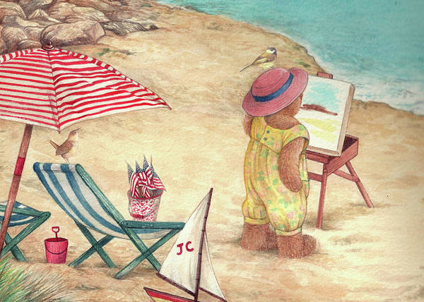 Painting - Whimsical Bear On The Beach by Judith Cheng
