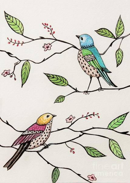 Painting - Whimsical Birds In The Garden by Elizabeth Robinette Tyndall