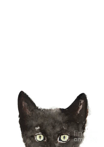 Black Cat Painting - Whimsical Cat Poster, Funny Animal Black Cat Drawing, Peeking Cat Art Print, Animals Painting by Joanna Szmerdt