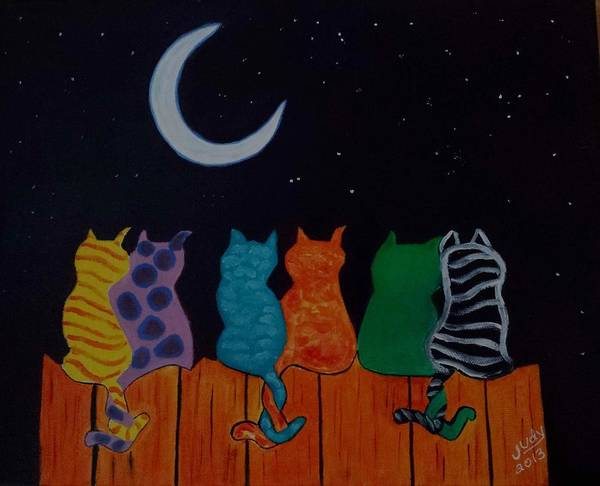 Wall Art - Painting - Whimsical Cats by Judy Jones