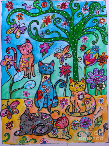Painting - Whimsical Cats by Pristine Cartera Turkus