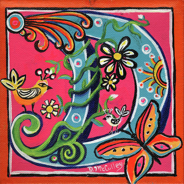 D.w Painting - Whimsical D by Debbie McCulley