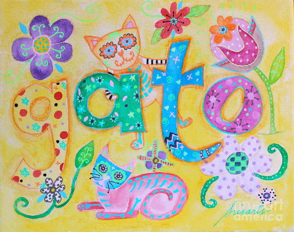 Painting - Whimsical Day Of The Dead Cats by Pristine Cartera Turkus
