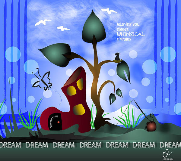 Fishing Pole Digital Art - Whimsical Dreams by Micheleh Center
