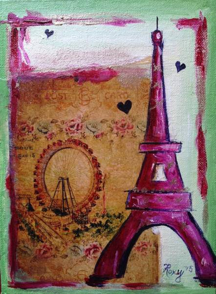 Paris Painting - Whimsical Eiffel Tower Ferris Wheel by Roxy Rich