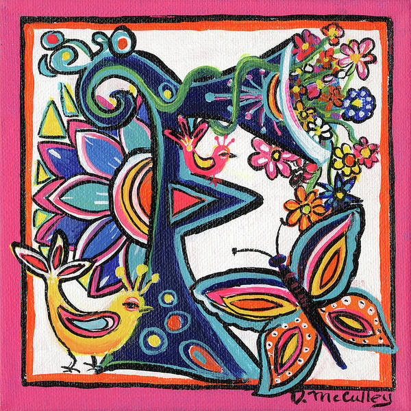 D.w Painting - Whimsical F by Debbie McCulley