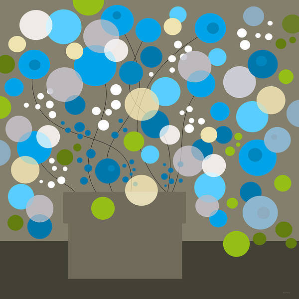 Digital Art - Whimsical Flowers - Aqua by Val Arie