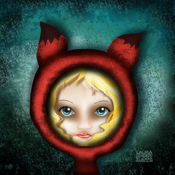 Foxes Digital Art - Whimsical Fox Hood Girl by Laura Ostrowski