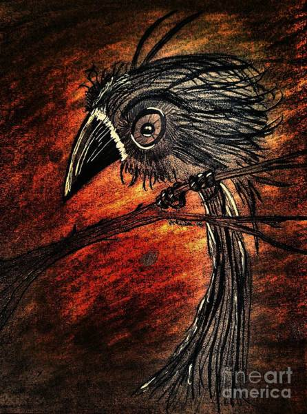 Magpies Drawing - Whimsical Futuristic Baby Crow by Scott D Van Osdol