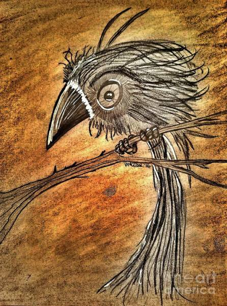 Magpies Drawing - Whimsical Futuristic Crow by Scott D Van Osdol
