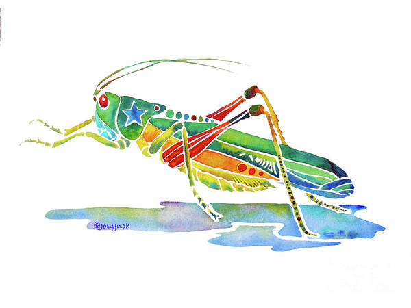 Painting - Whimsical Grasshopper  by Jo Lynch