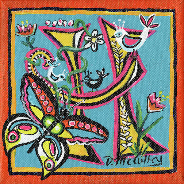 D.w Painting - Whimsical H by Debbie McCulley