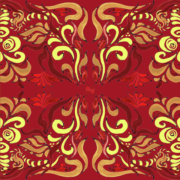 Wall Paper Painting - Whimsical Organic Pattern In Yellow And Red II by Irina Sztukowski