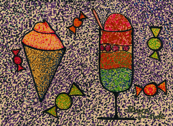 Painting - Whimsical Pointillism Desserts For Children by Lenora  De Lude