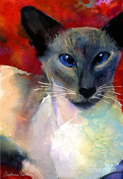 Siamese Painting - Whimsical Siamese Cat Painting by Svetlana Novikova