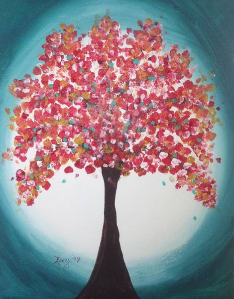 Flower Painting - Whimsical Sparkling Tree by Roxy Rich