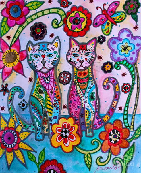 Painting - Whimsical Talavera Cats by Pristine Cartera Turkus