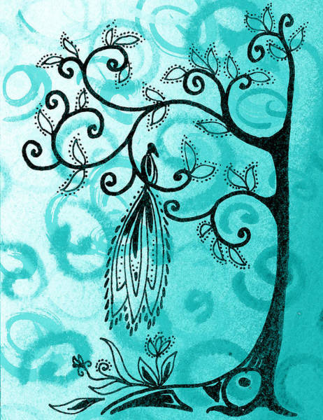 Birds And Flowers Painting - Whimsical Tree And Magical Bird by Irina Sztukowski