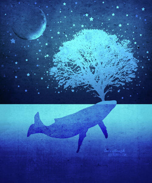 Spout Digital Art - Whimsical Whalte Spouting Tree by Laura Ostrowski