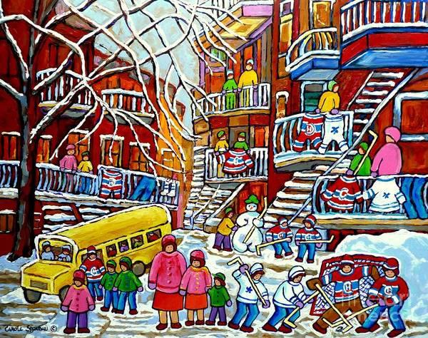 Painting - Whimsical Winter Wonderland Snowy School Bus Montreal Story Book Scene Hockey Art Carole Spandau     by Carole Spandau