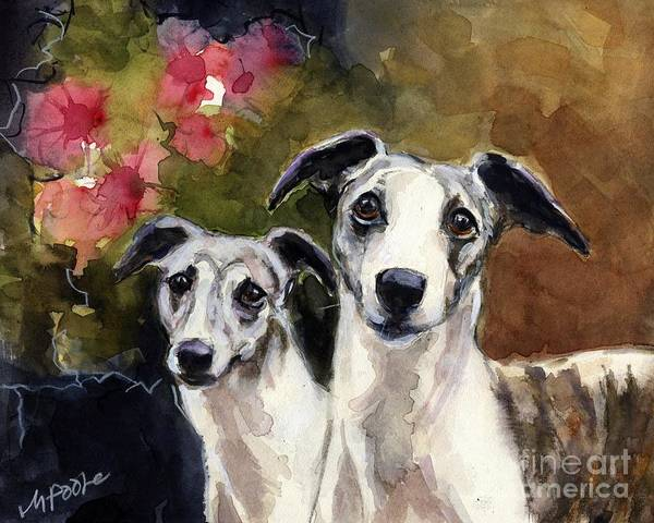Whippet Wall Art - Painting - Whippets by Molly Poole