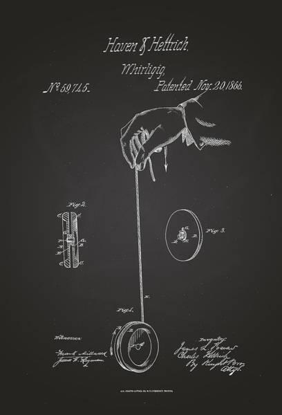 Artful Drawing - Whirligig Yo-yo Patent Drawing 1866 by Patently Artful