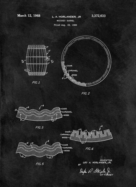 Barrels Drawing - Whiskey Barrel Patent by Dan Sproul