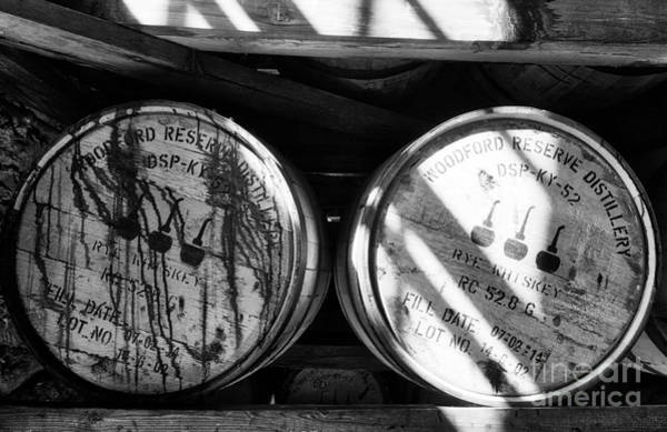 Photograph - Whiskey Barrels Black And White by Mel Steinhauer