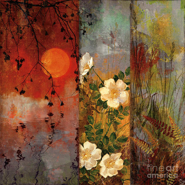 Triptych Wall Art - Painting - Whisper Forest Moon II by Mindy Sommers