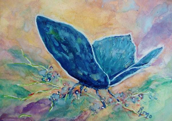 Romo Painting - Whispering Blue - Butterfly by Robin Monroe