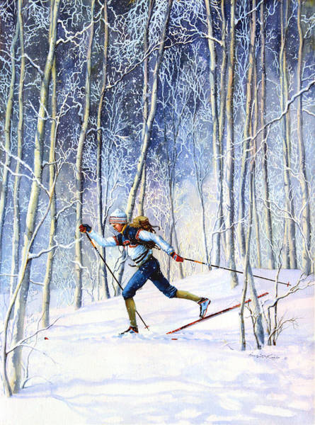 Skiing Painting - Whispering Tracks by Hanne Lore Koehler