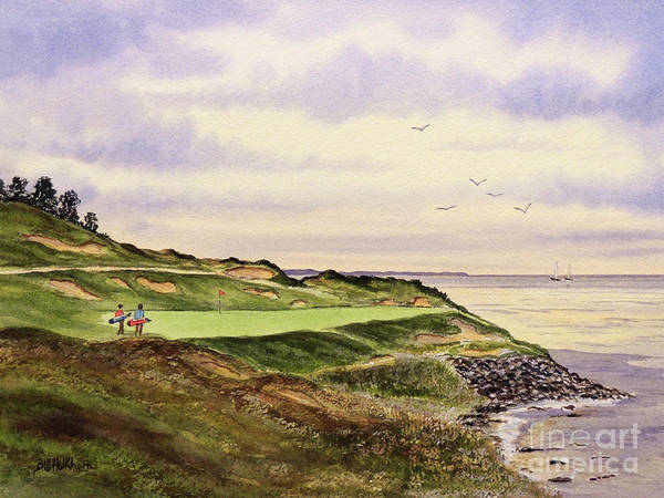 Wall Art - Painting - Whistling Straits Golf Course Hole 7 by Bill Holkham