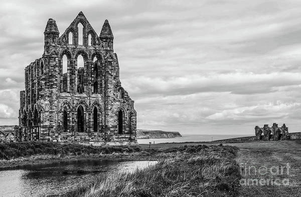 Photograph - Whitby Abbey England Bw by Lexa Harpell
