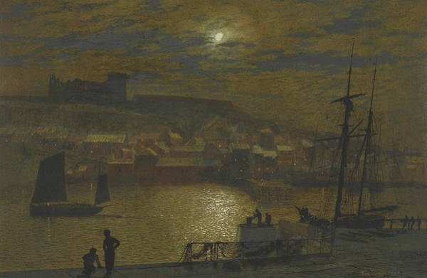 Painting - Whitby From Scotch Head Moonlight On The Esk by John Atkinson Grimshaw