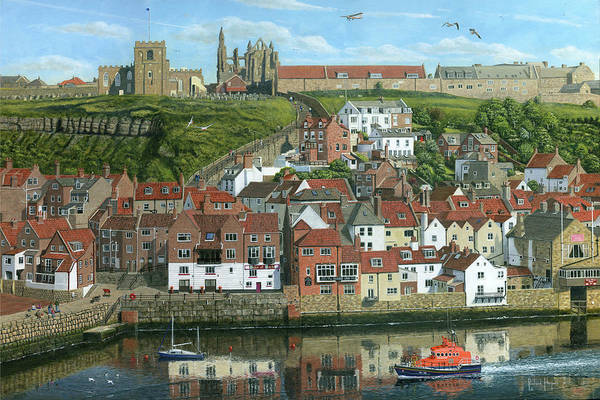 Dracula Painting - Whitby Harbor North Yorkshire  by Richard Harpum