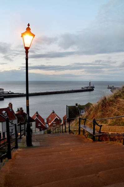 Photograph - Whitby Steps Blue Hour by Sarah Couzens