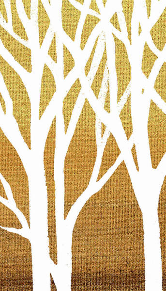 Painting - White Abstract Forest Beige Background Triptych A 1of3  by Irina Sztukowski