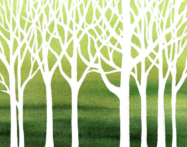 Into The Woods Wall Art - Painting - White Abstract Forest Green Background Interior Decor by Irina Sztukowski