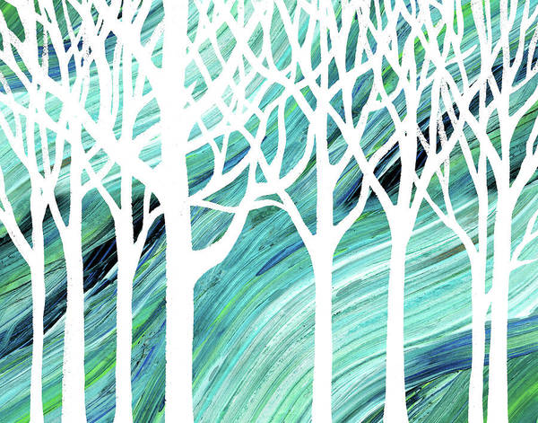 Painting - White Abstract Forest With Blue Wind Background by Irina Sztukowski