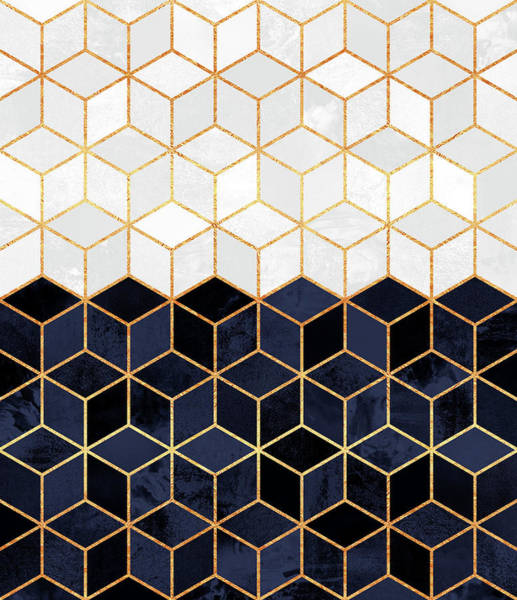 Golden Digital Art - White And Navy Cubes by Elisabeth Fredriksson