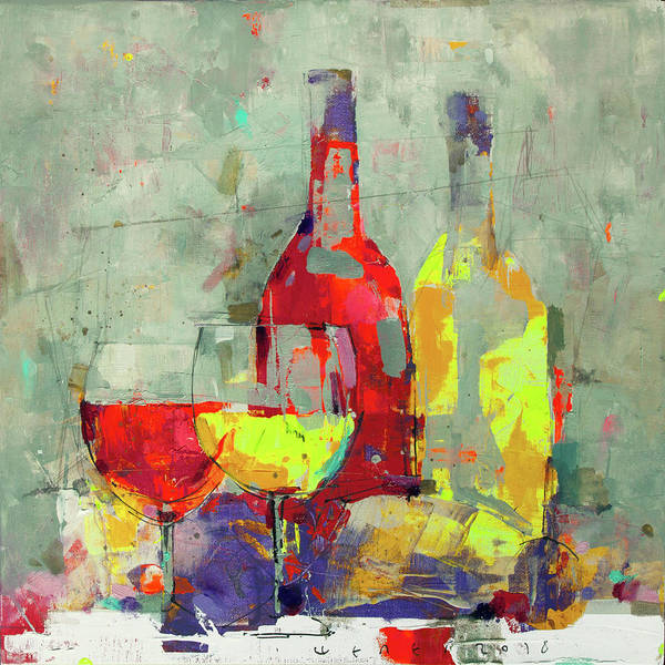 Wall Art - Painting - White And Red by Viktor Sheleg