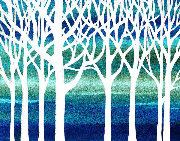 Painting - White And Teal Forest by Irina Sztukowski