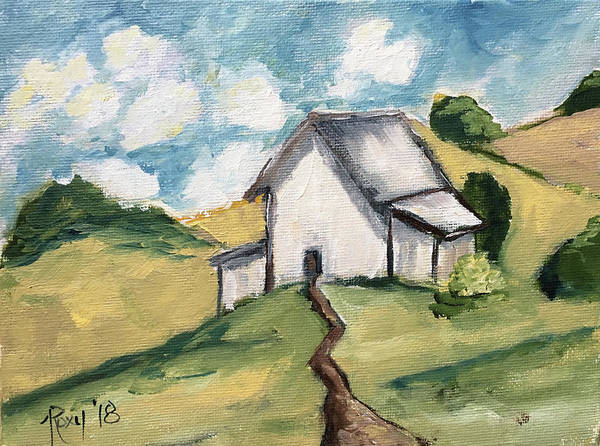Impressionism Painting - White Barn Countryside Landscape by Roxy Rich